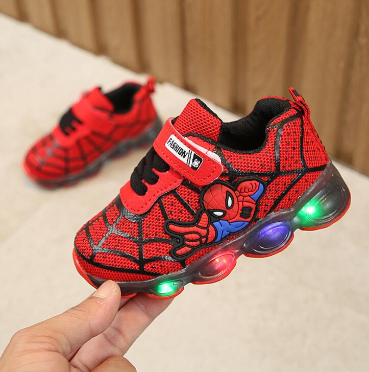 Boys Girls Toddler LED Spiderman With Lights Sneaker Autumn