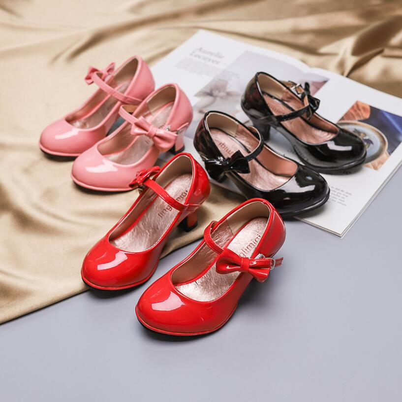 Princess leather dance shoes girls party bow shiny high-heeled