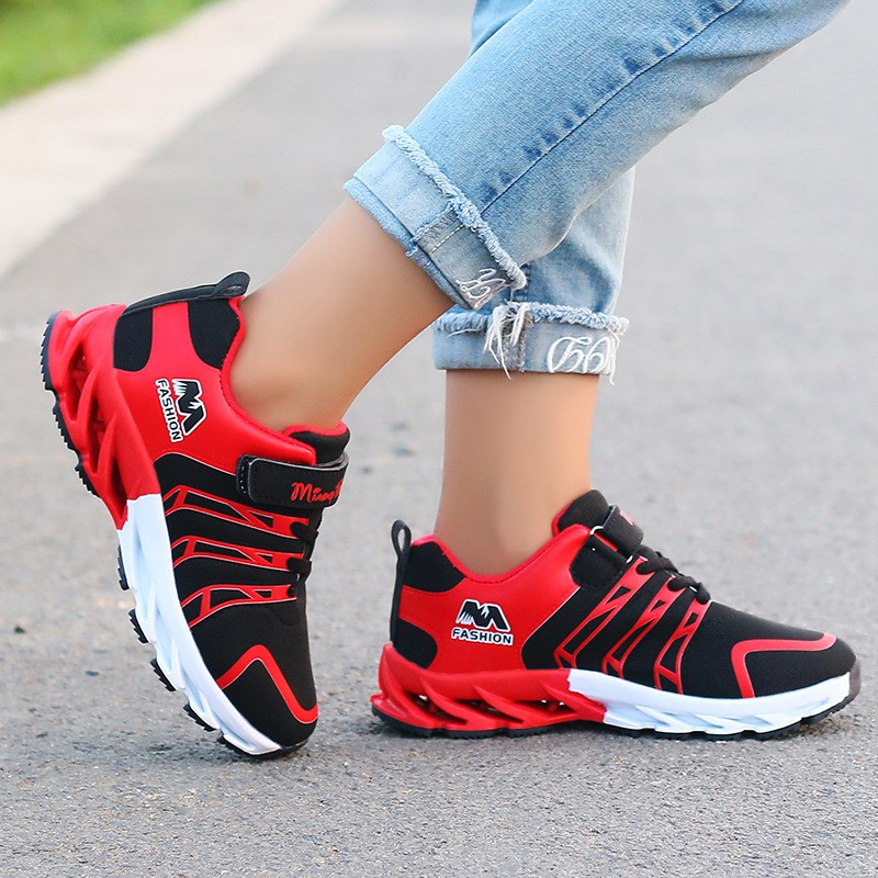 Autumn Boys Girls Sneakers Breathable Patchwork Hook and Loop