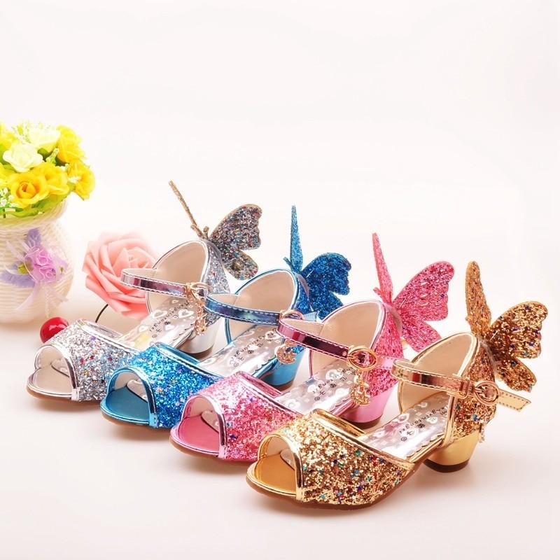 Girls Sandals Rhinestone Butterfly dance shoes high Heel Princess shoes