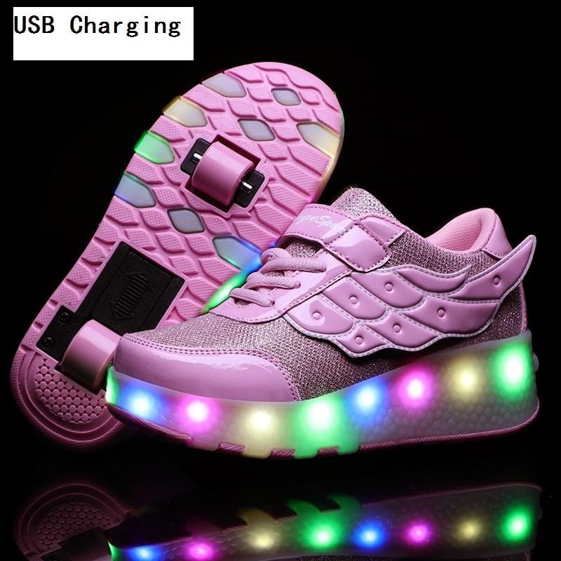 Boys Girls One Two Wheels LED Sneakers Roller Skate USB Charging