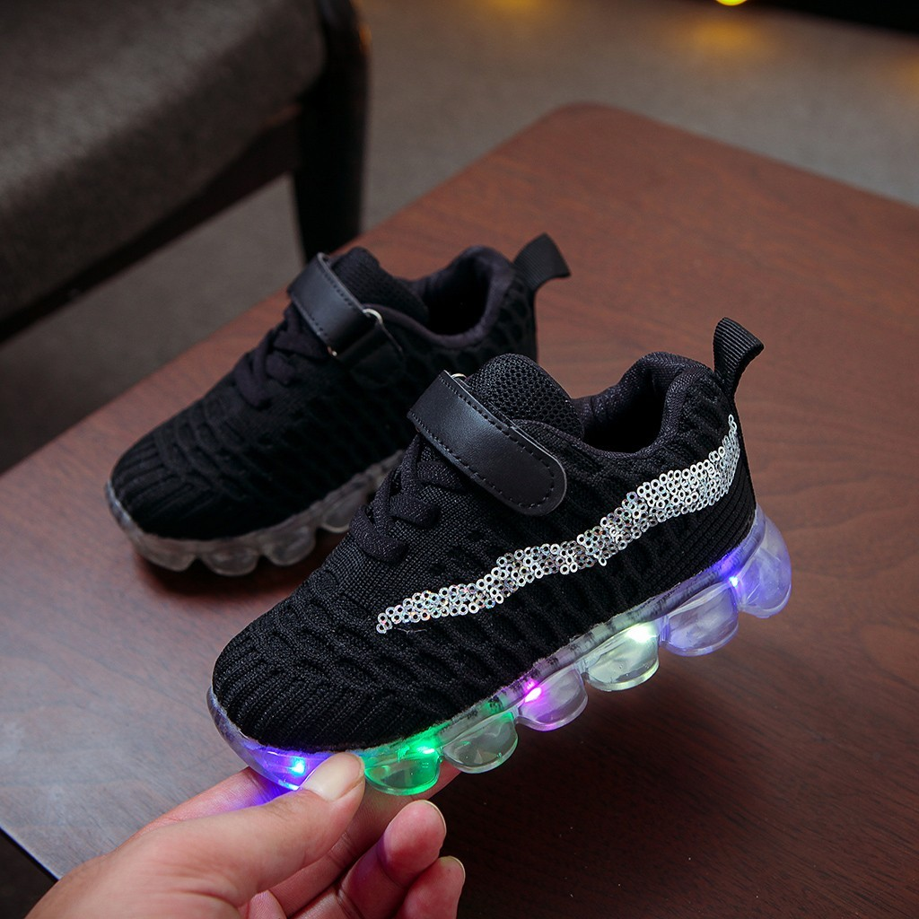Girls Boys Baby Led Luminous Sport Sneakers Casual Shoes