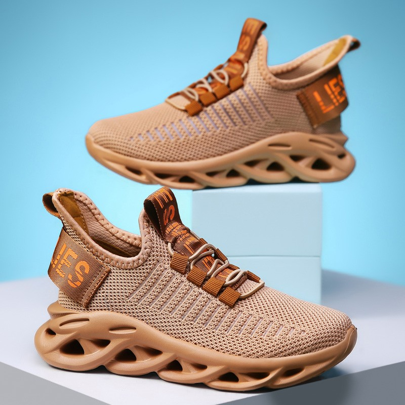 Boys Girls Mesh Breathable Lightweight Sneakers Lace-Up Trainers