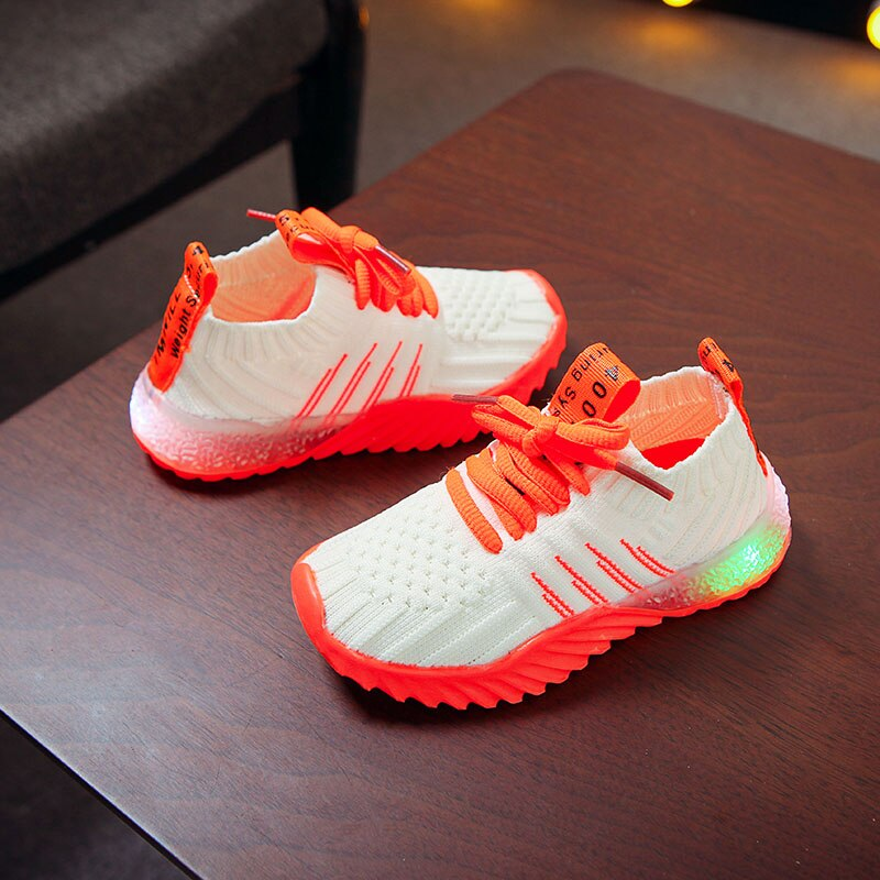Boys Girls Net Anti-Slip With Light Running Sneakers Breathable