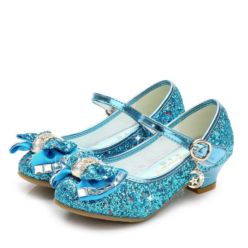 Dress Princess Kids Leather Shoes for Girls Flower Glitter