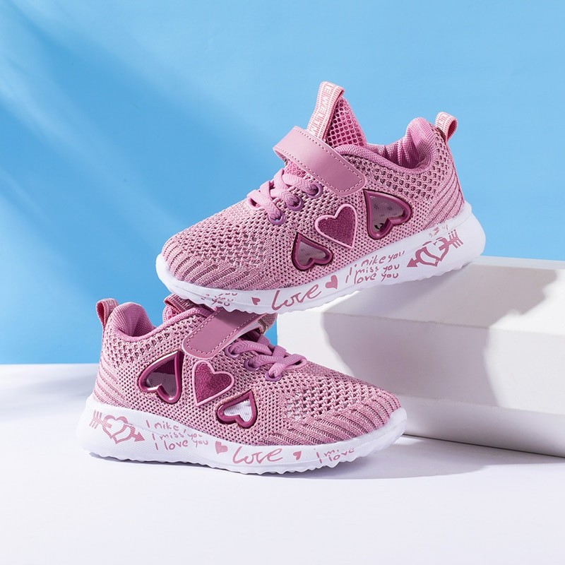 Children Mesh Girl Sneakers Light Cute Pink Flat Sport Footwear