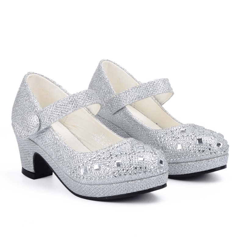 Girls Princess Party Dress Shoes High Heel Glitter Rhinestone