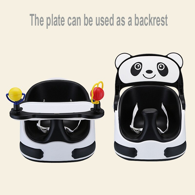 Baby Highchair Baby Booster Seats Kids Eating Dining Plastic Chair With Wheels Dinner Table Multifunction Portable Sliding Seat (White)