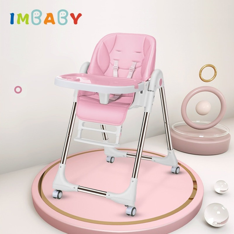 IMBABY Baby multi-function portable seat baby table adjustable child folding chair high chair for feeding With rolling wheels